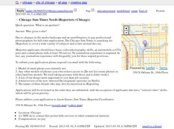 Craigslist ad mocks Chicago Sun-Times for laying off photo ...