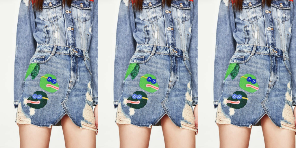 An image of Zara's skirt design that resembles Pepe the Frog.