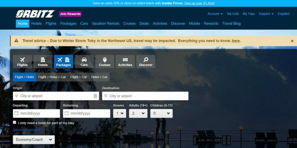 orbitz travel website