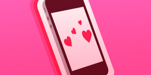 phone with hearts on the screen
