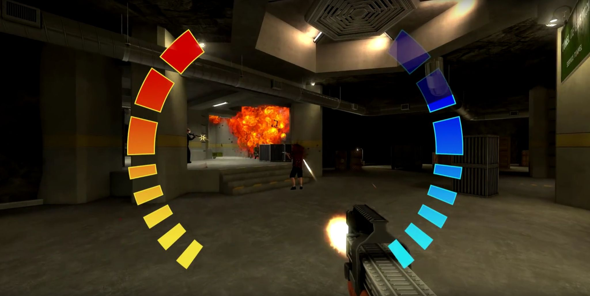 Screengrab of the GoldenEye: Source fan project, with the iconic health meters on the screen.