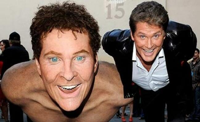 david hasselhoff with giant wax stunt double