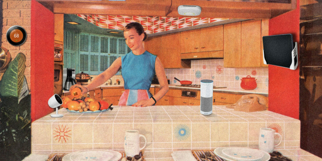 woman in 1950's kitchen with internet-connected gadgets