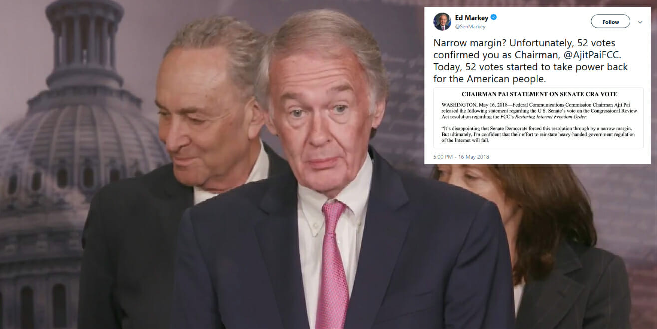 FCC Chairman Ajit Pai called the Senate net neutrality CRA vote 'narrow' because the final tally was 52 to 47. However, Sen. Edward Markey (D-Mass.) reminded the chairman why he should be familiar with that vote total.