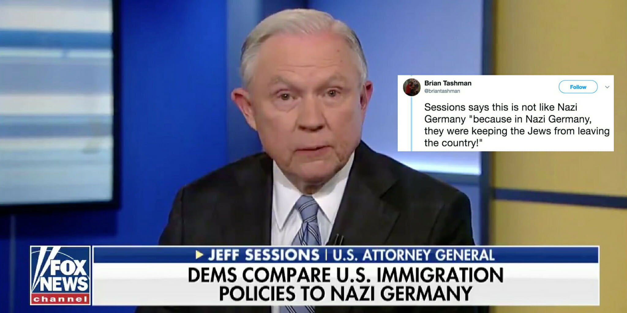 Jeff Sessions refutes assertion that his immigration policy is like Nazi Germany.