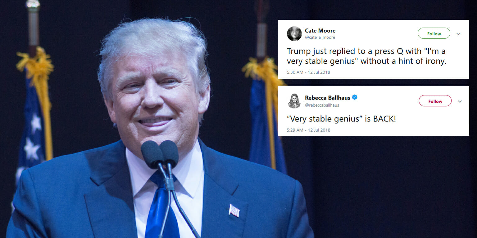 President Donald Trump once again declared himself a 'very stable genius' on Thursday, echoing a tweet he sent earlier this year.