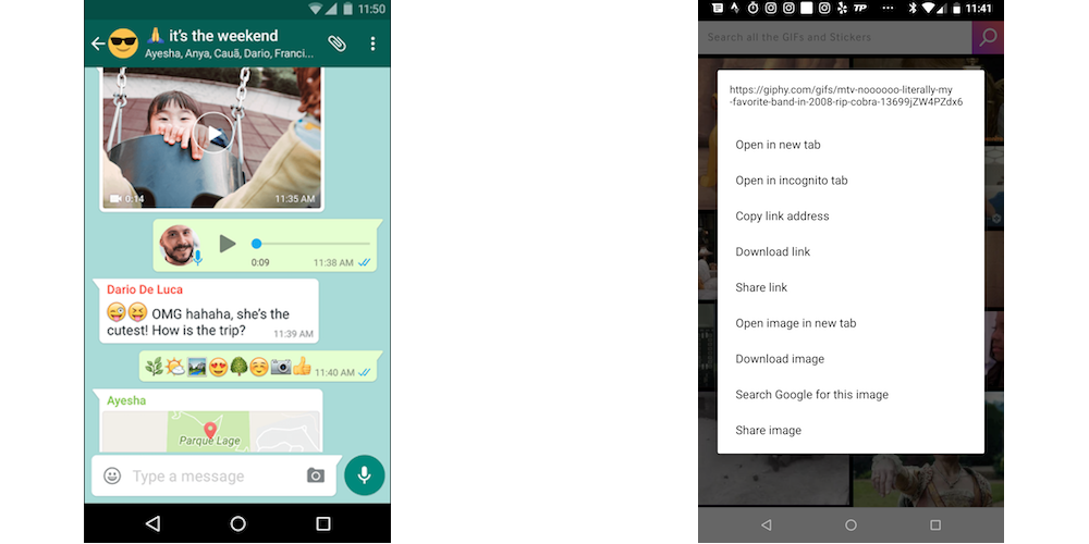 how to text GIFs on WhatsApp