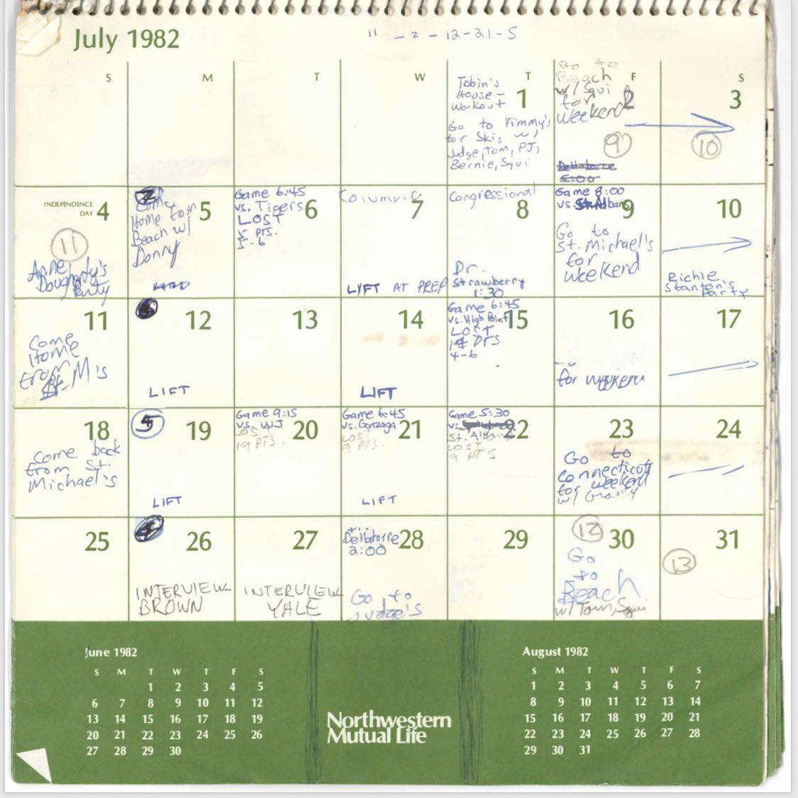brett kavanaugh calendar july 1982