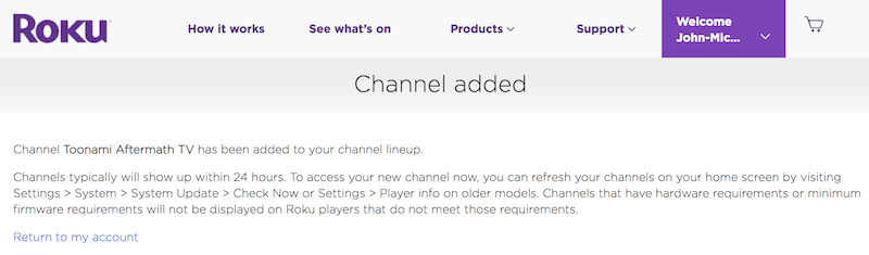 how to add private channels to roku
