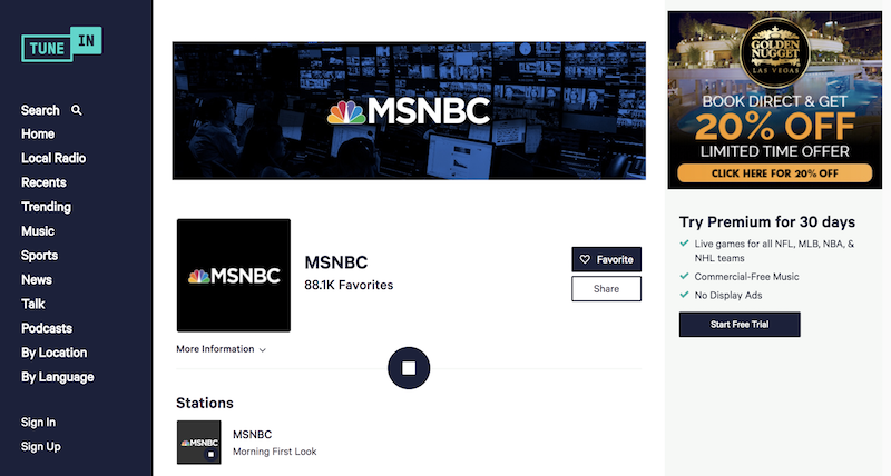 msnbc live streaming tune in