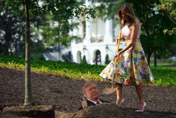 The internet has made a meme of this photo of Melania Trump gardening in stilettos.
