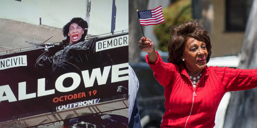 A 'Halloween' billboard defaced to depict Rep. Maxine Waters