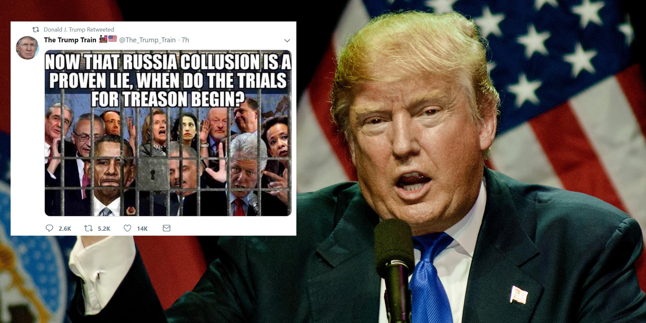 Trump Tweets Image Showing Prominenent Democrats Behind Bars