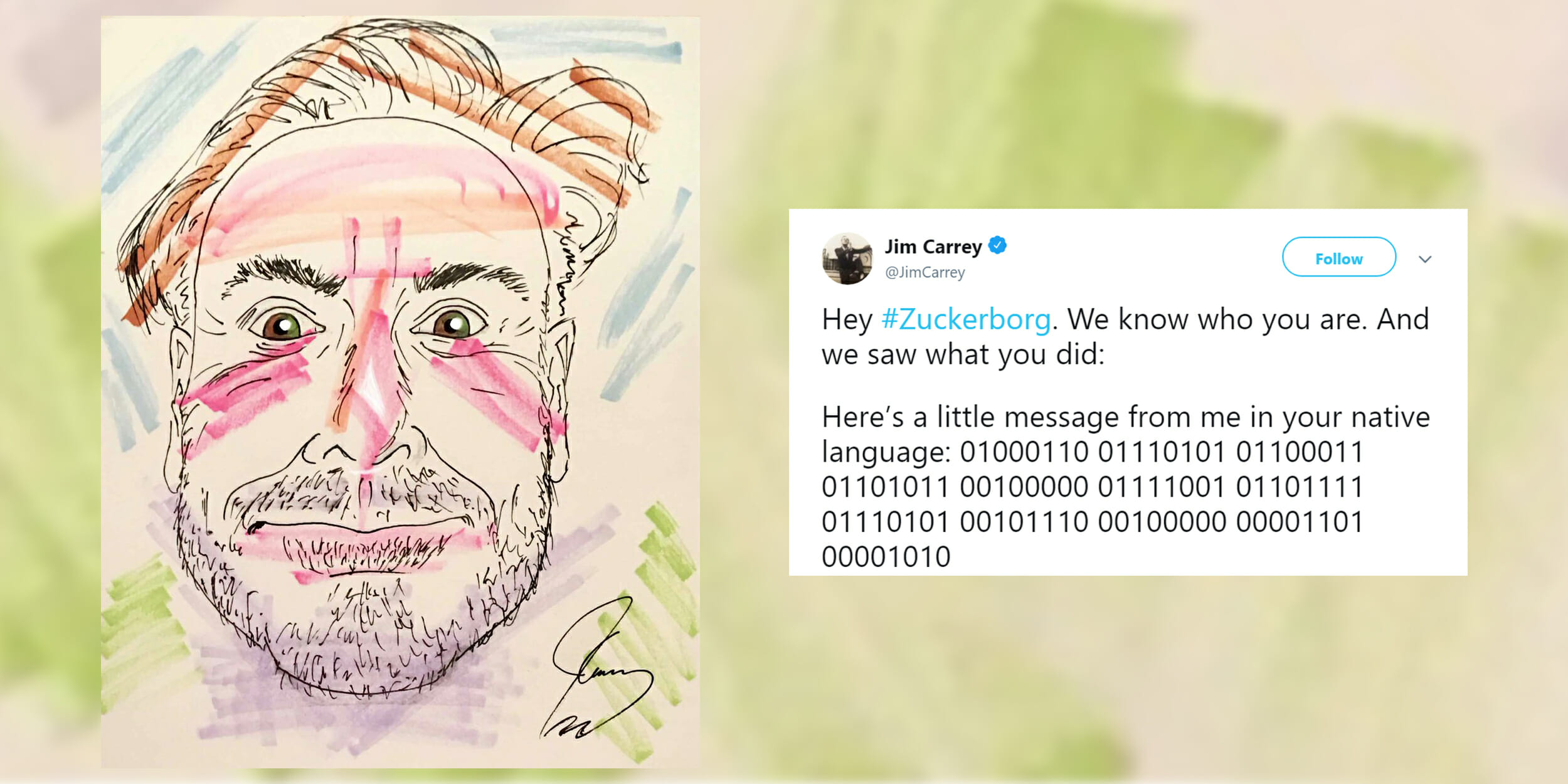 Jim Carrey tells Zuckerberg 'f*ck you' in coded Twitter message