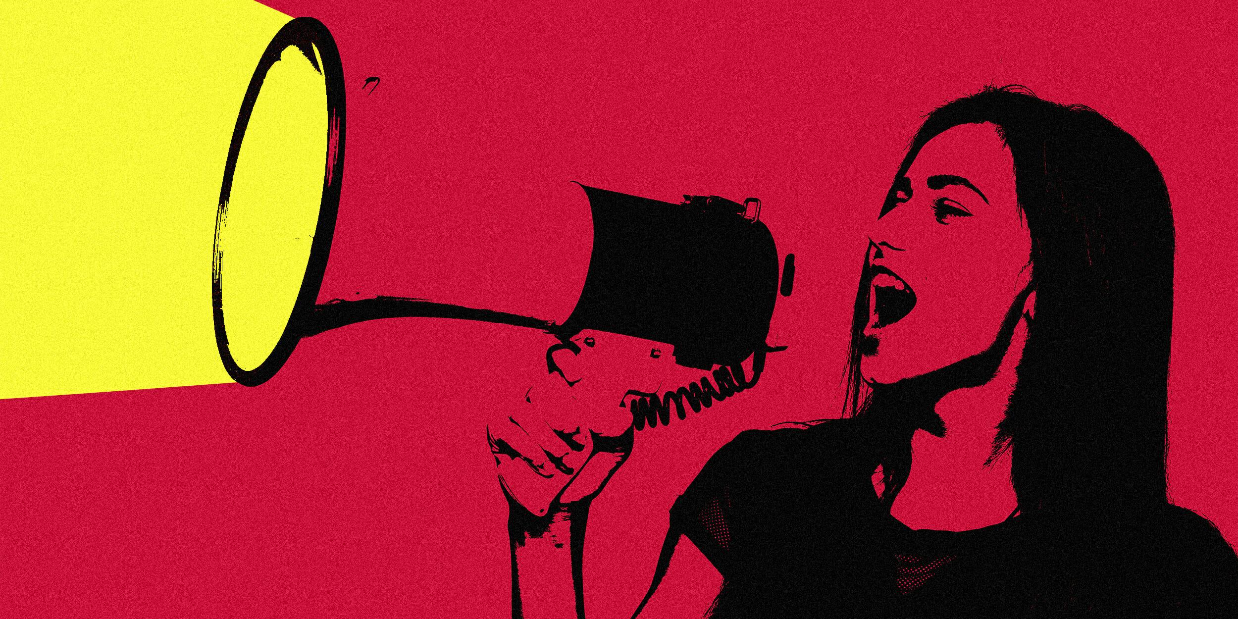 woman using megaphone illmob
