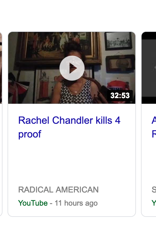 Screenshot showing a video claiming to have proof that rachel chandler killed four people