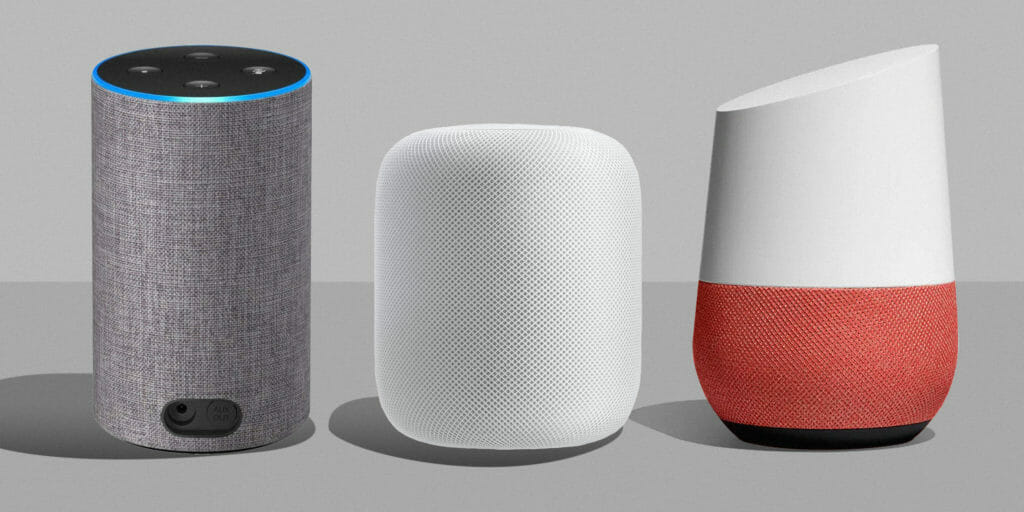 Amazon Echo, Apple Homepod, and Google Home