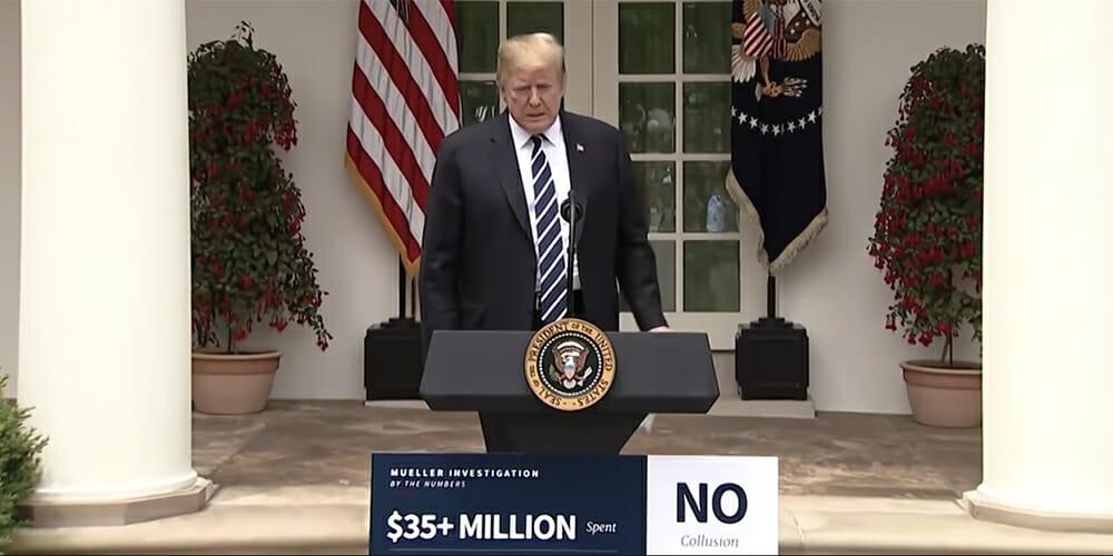 Trump's Rose Garden podium sign is the perfect meme canvas