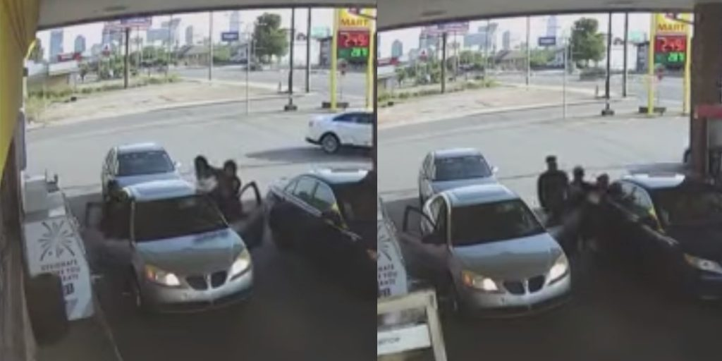 Two snaps from the video show Nashville PD officer Barrett Teague assaulting Adreneyonia Ensley