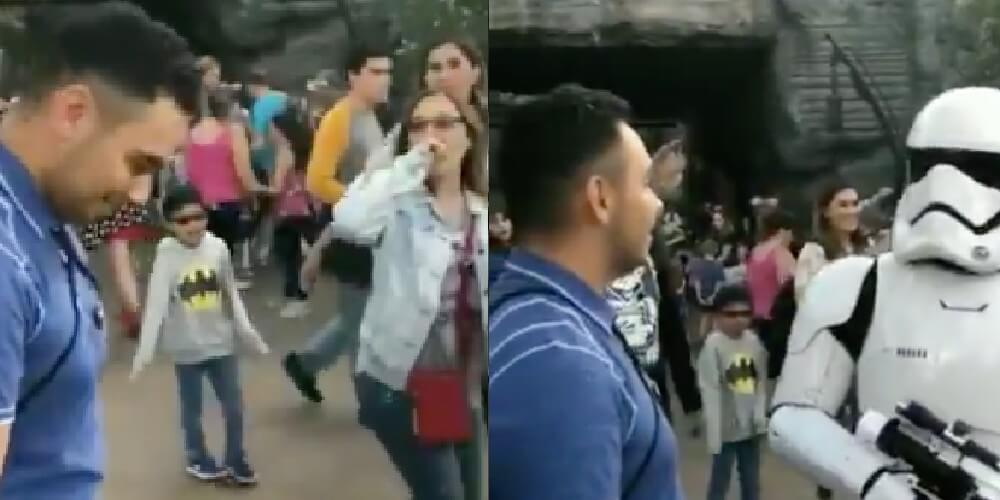 Stormtrooper verbally destroys dude who's holding a lightsaber at Disneyland