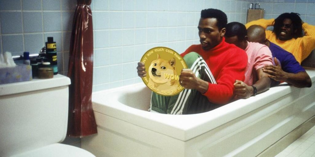 Cool Runnings Jamaican bobsled team in bathtub holding Dogecoin