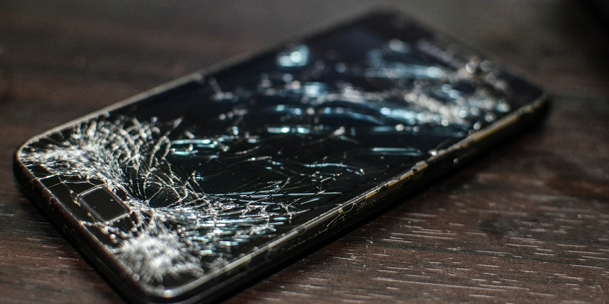 A shattered screen of a Samsung Galaxy S2