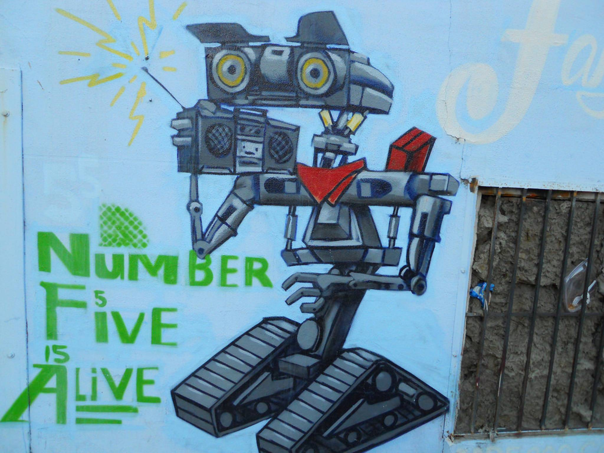 Painting or graffiti of Johnny 5