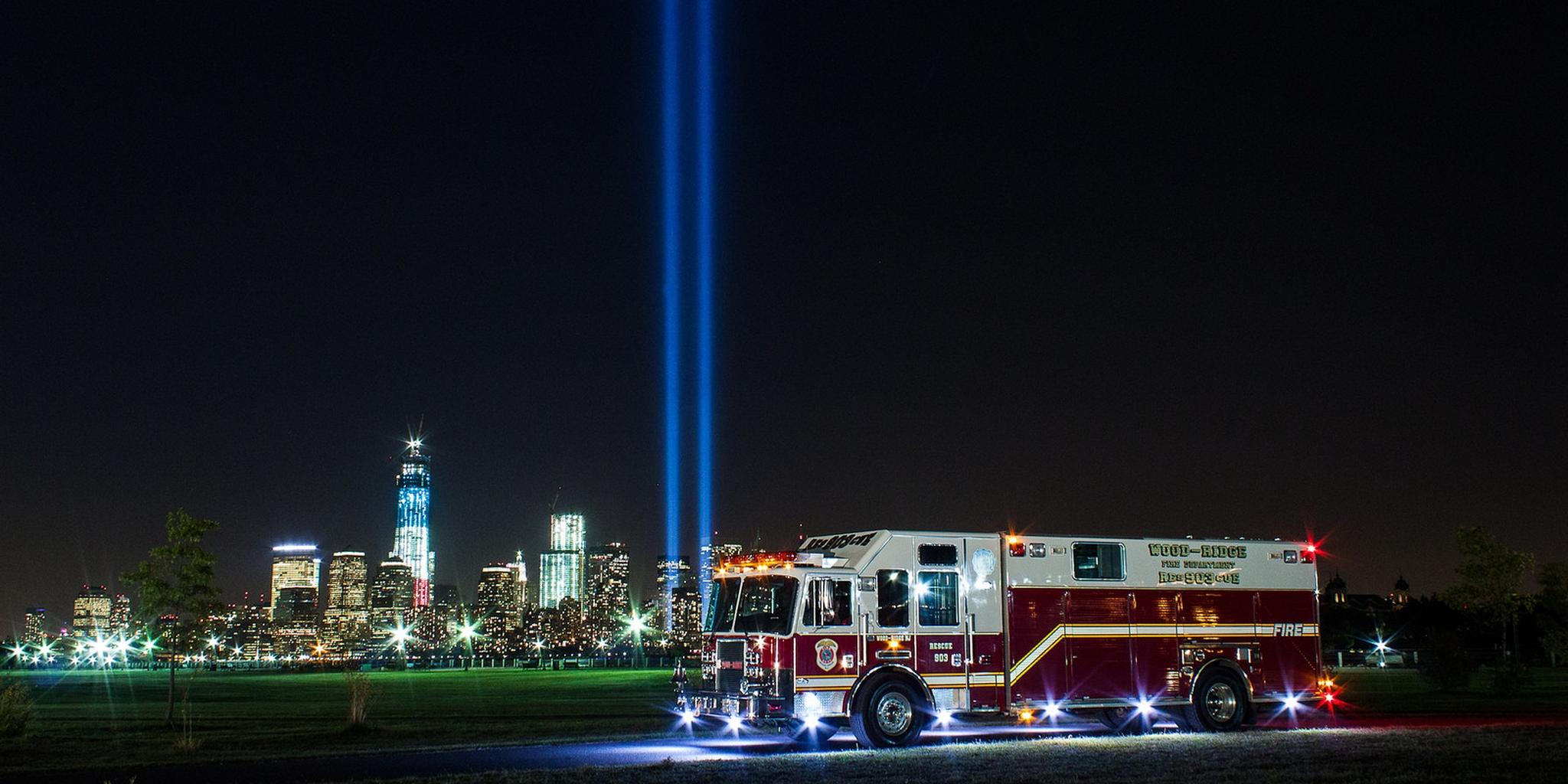 Firetruck in Front of 9/11 Memorial