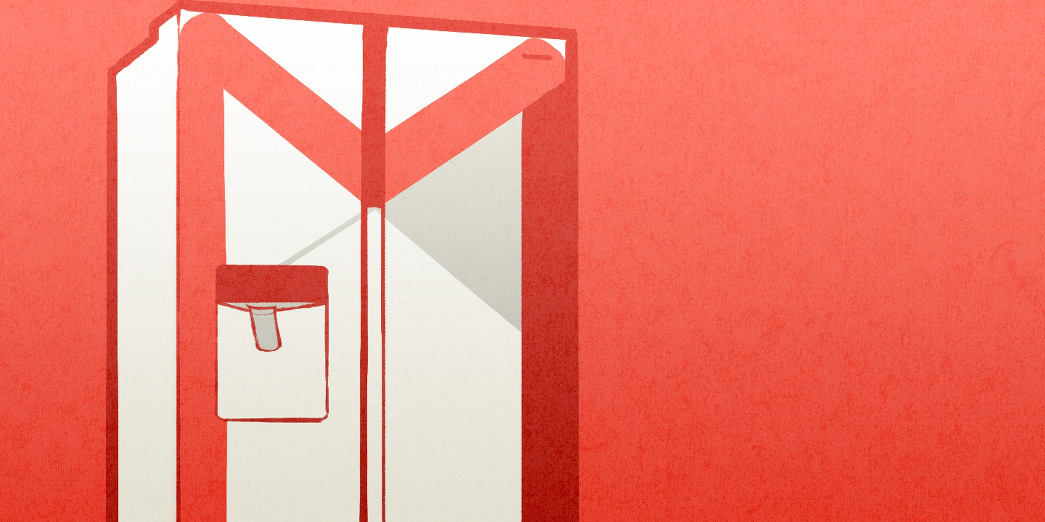 illustration of a fridge that looks like the gmail logo