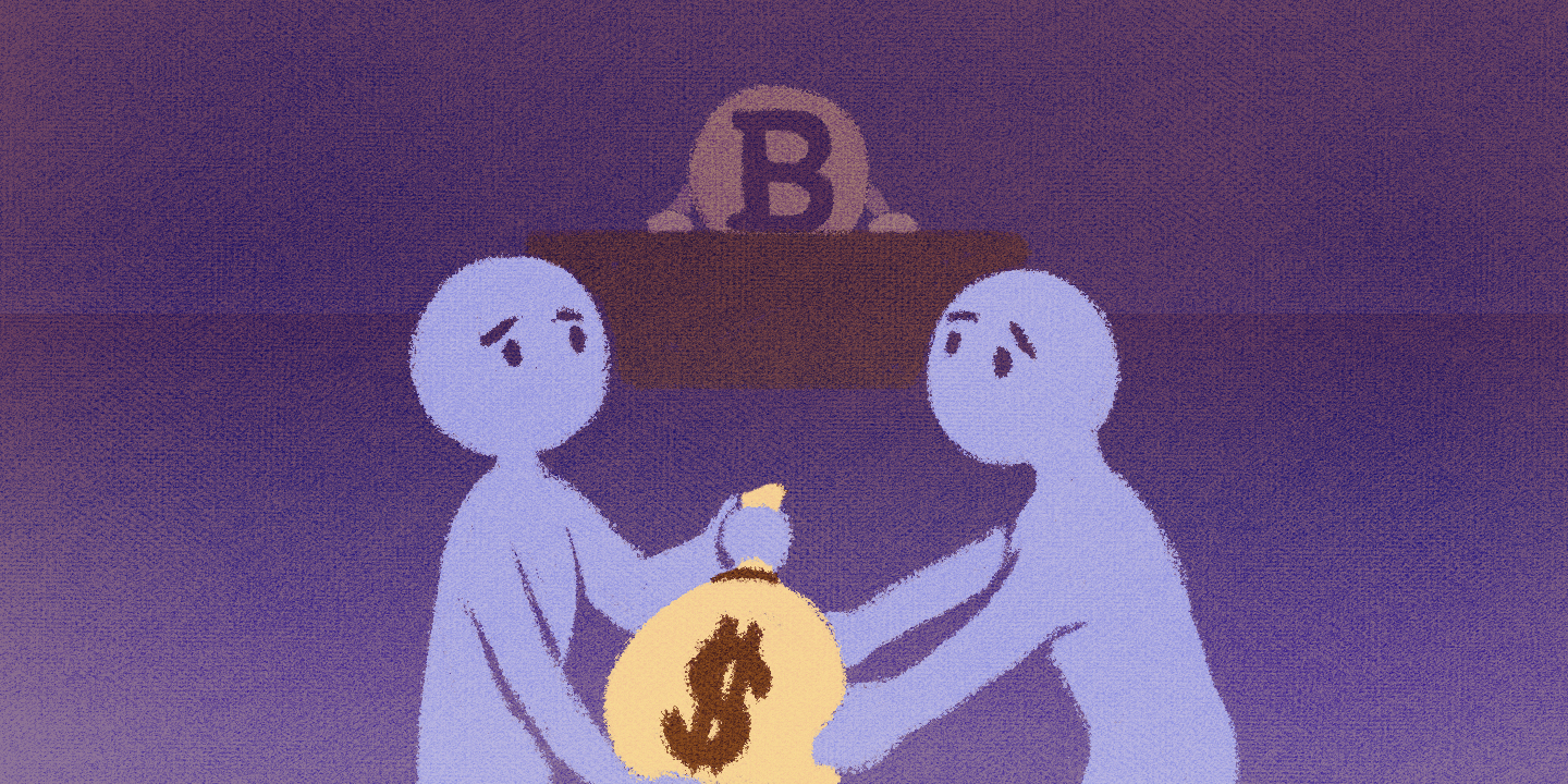 bitcoin logo overseeing two people transfer money