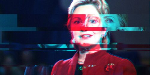 glitched image of hillary clinton