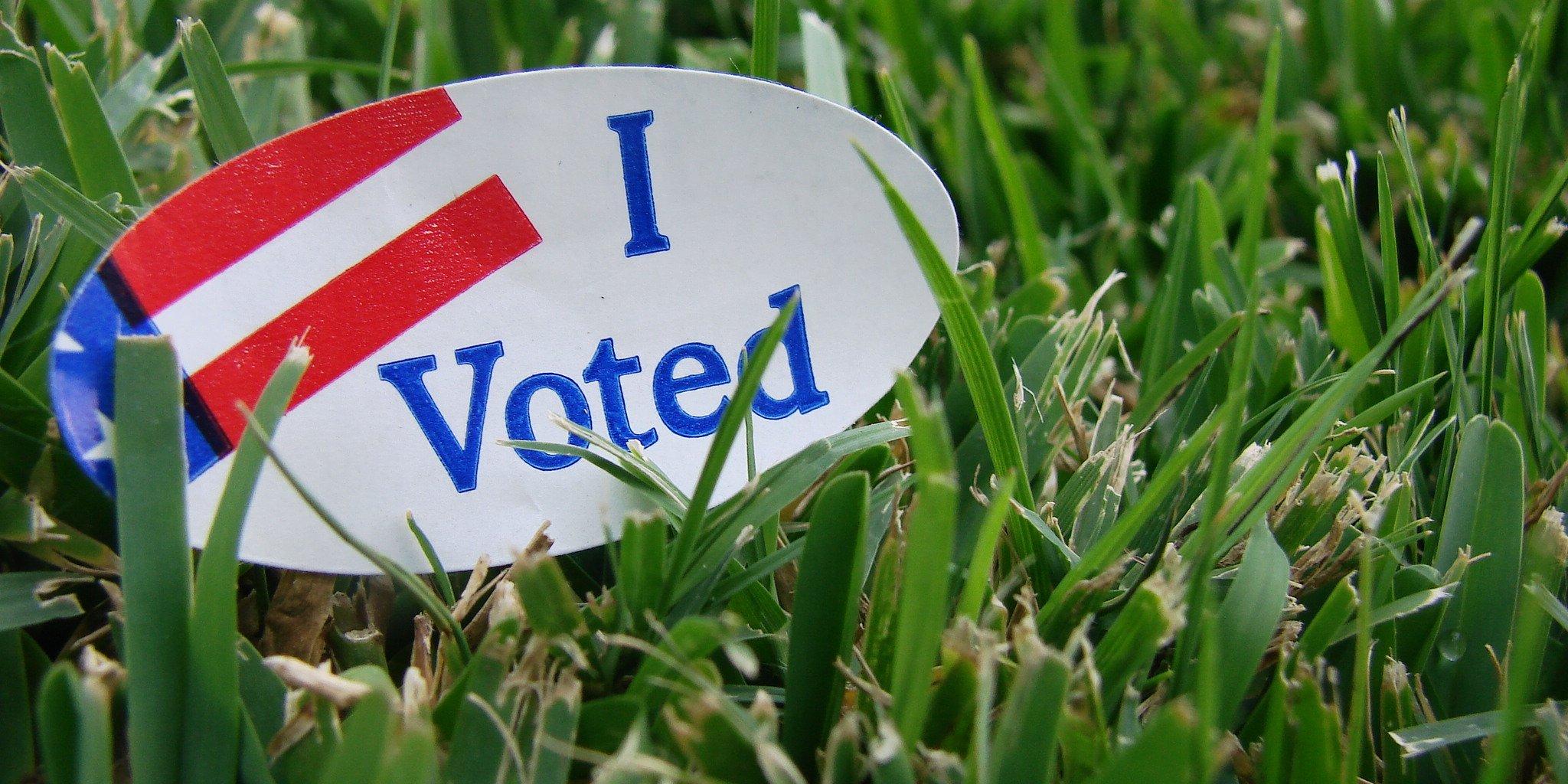 Voting sticker in the grass