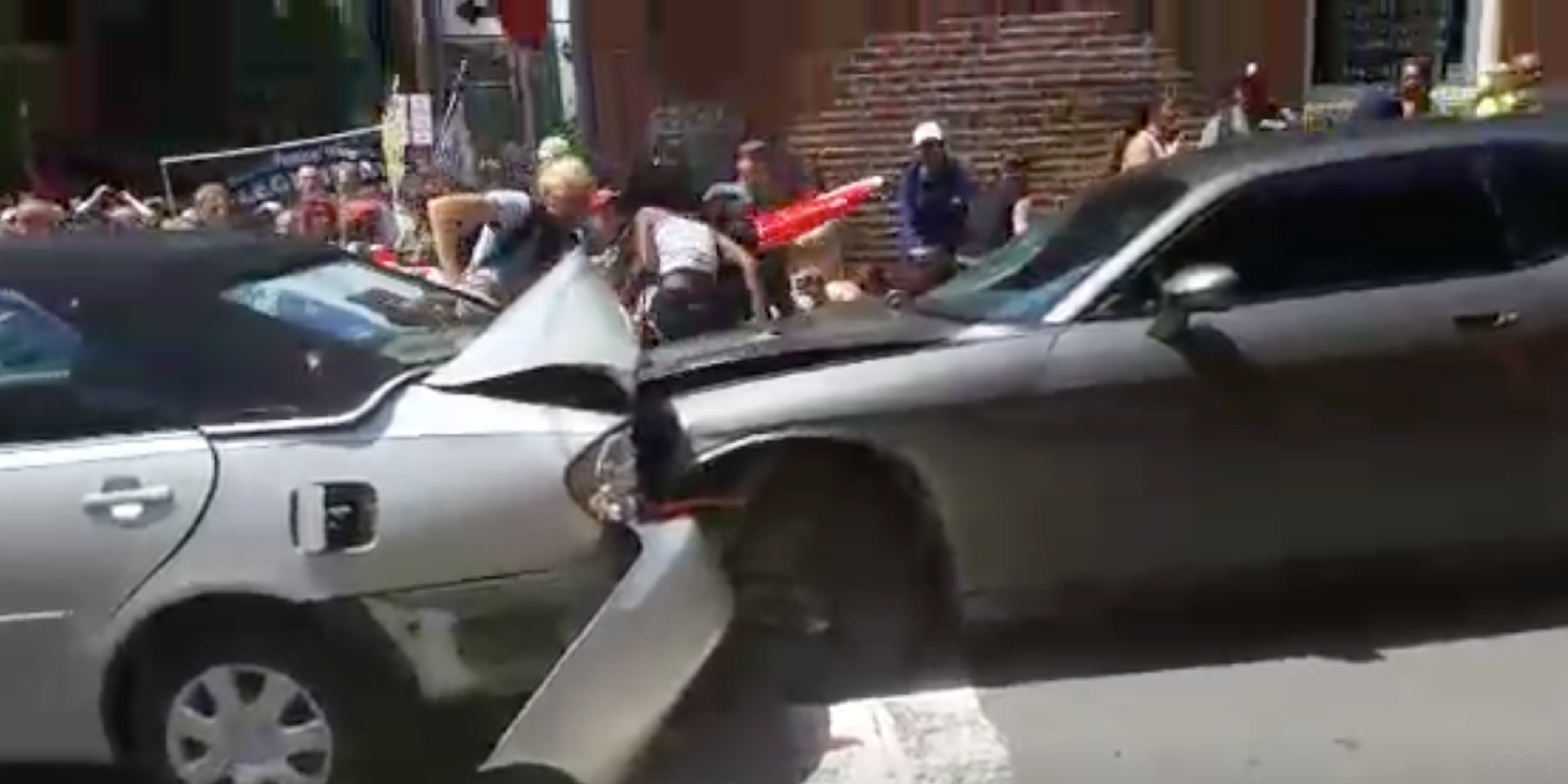 A car in Charlottesville plowed through dozens of protesters