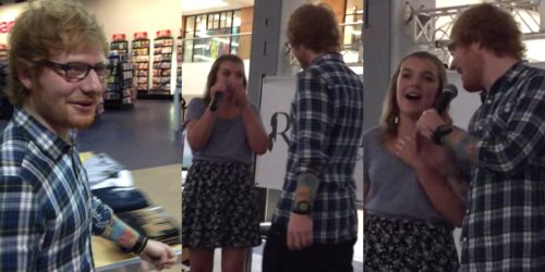 Ed Sheeran surprises and sings with fan at a shopping mall