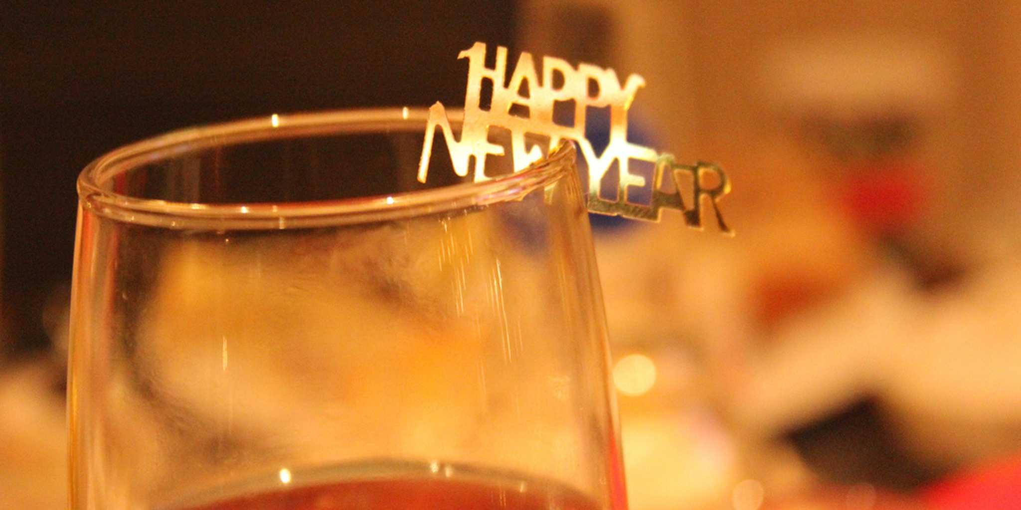 Happy New Year Confetti on Glass