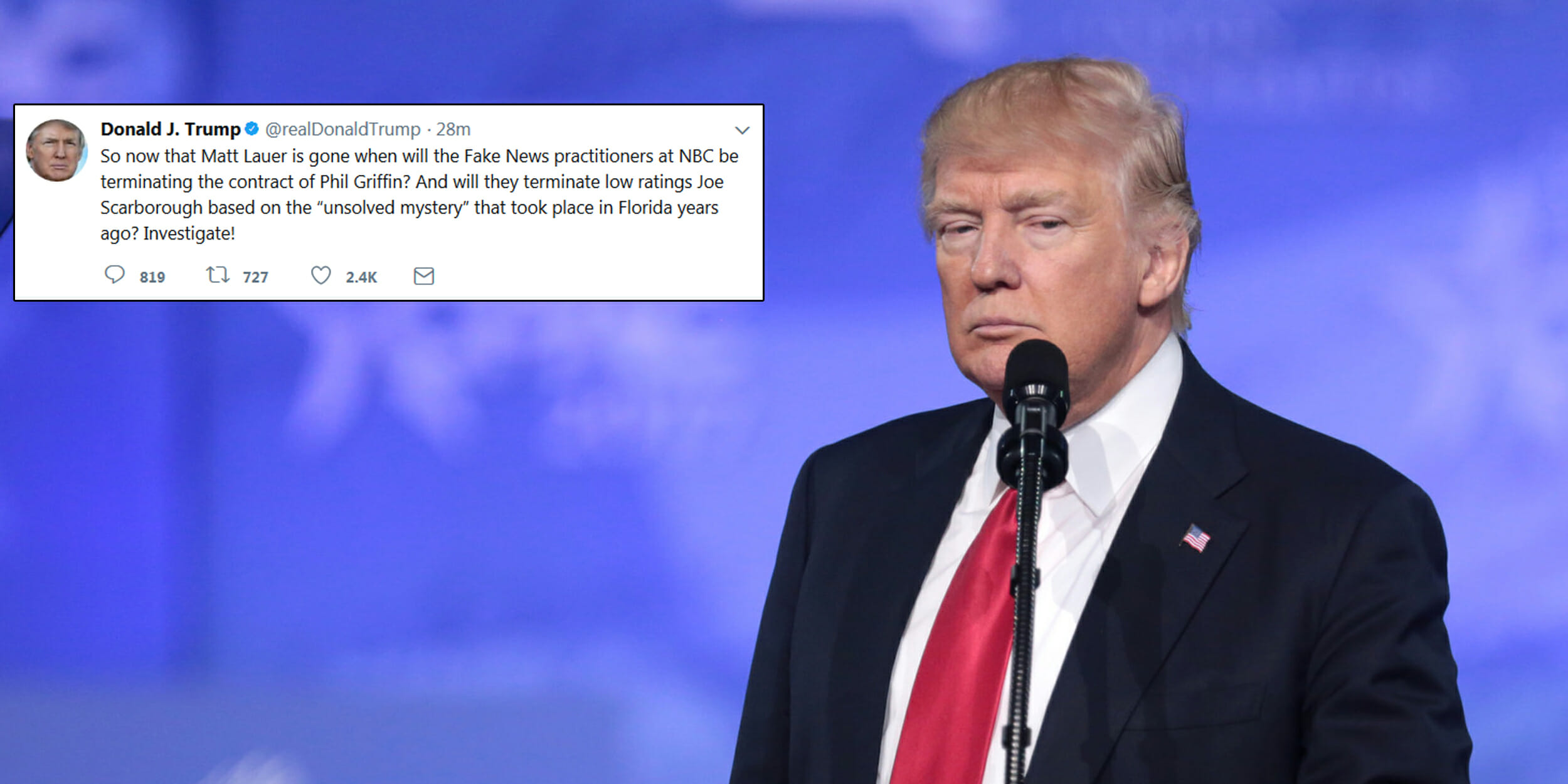 The 'unsolved mystery' President Donald Trump tweeted about regarding MSNBC host Joe Scarborough has been solved for years.