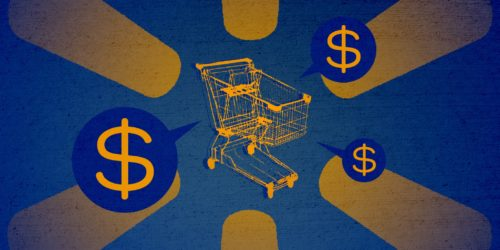 shopping cart speaking dollar signs