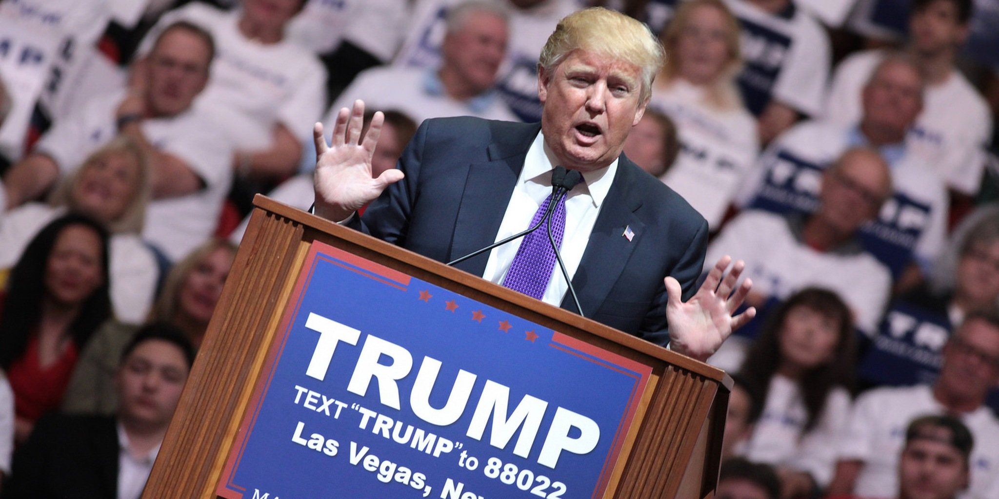 Donald Trump with hands splayed at campaign event in Nevada