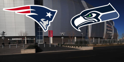 Patriots and Seahawks Logos in Front of Arizona Stadium
