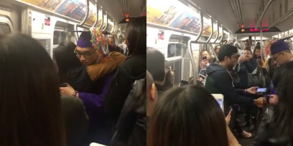 Video screengrabs from a mock graduation ceremony on a subway