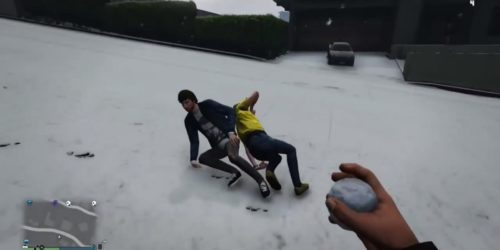 Screengrab of a video of hipsters being snowballed to death in GTA Online.