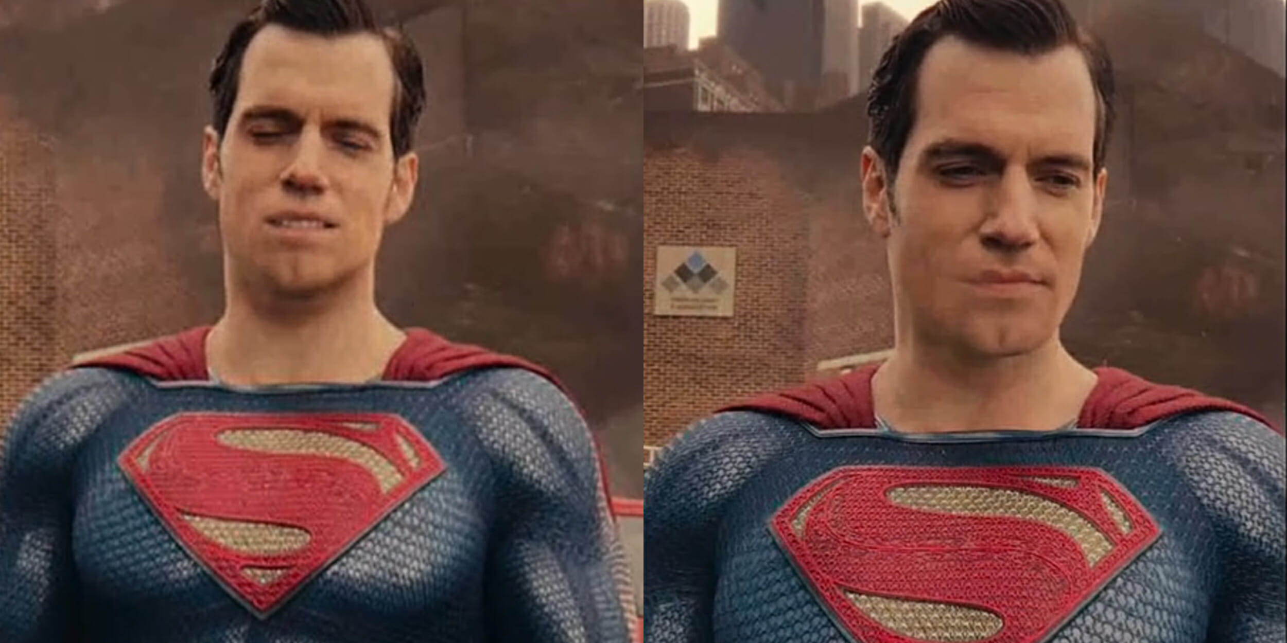 Superman's mouth with digitally removed mustache