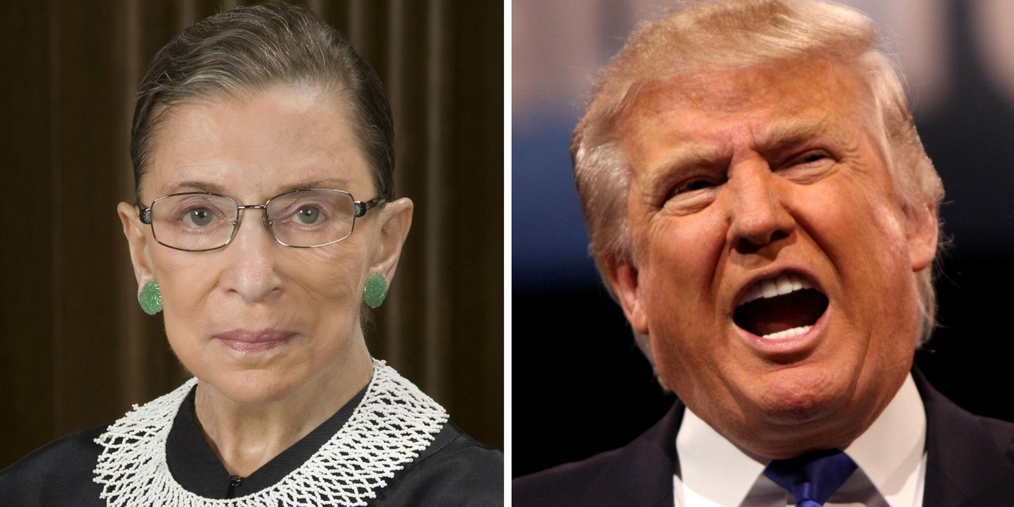 Ruth Bader Ginsburg and Donald Trump