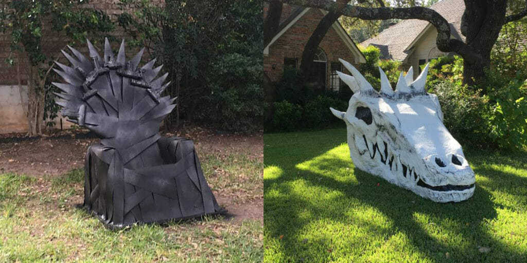 Iron Throne and Dragon skull
