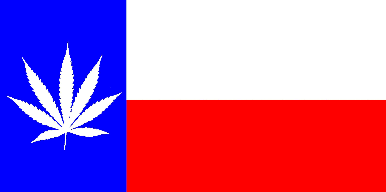 Marijuana Leaf on a Texas State Flag