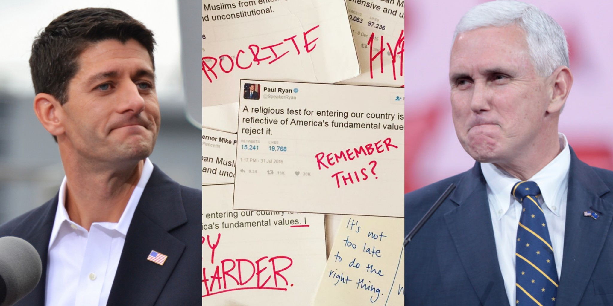 Paul Ryan Mike Pence Hypocticial Tweets