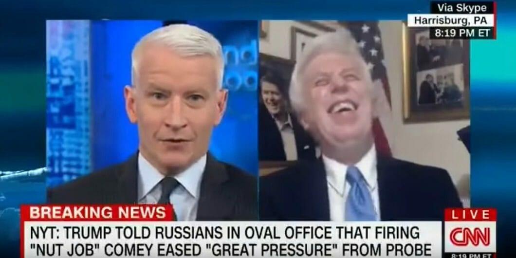 Anderson Cooper Jeffrey Lord dump on desk