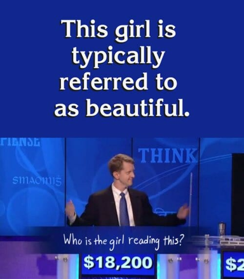 girl reading this jeopardy meme