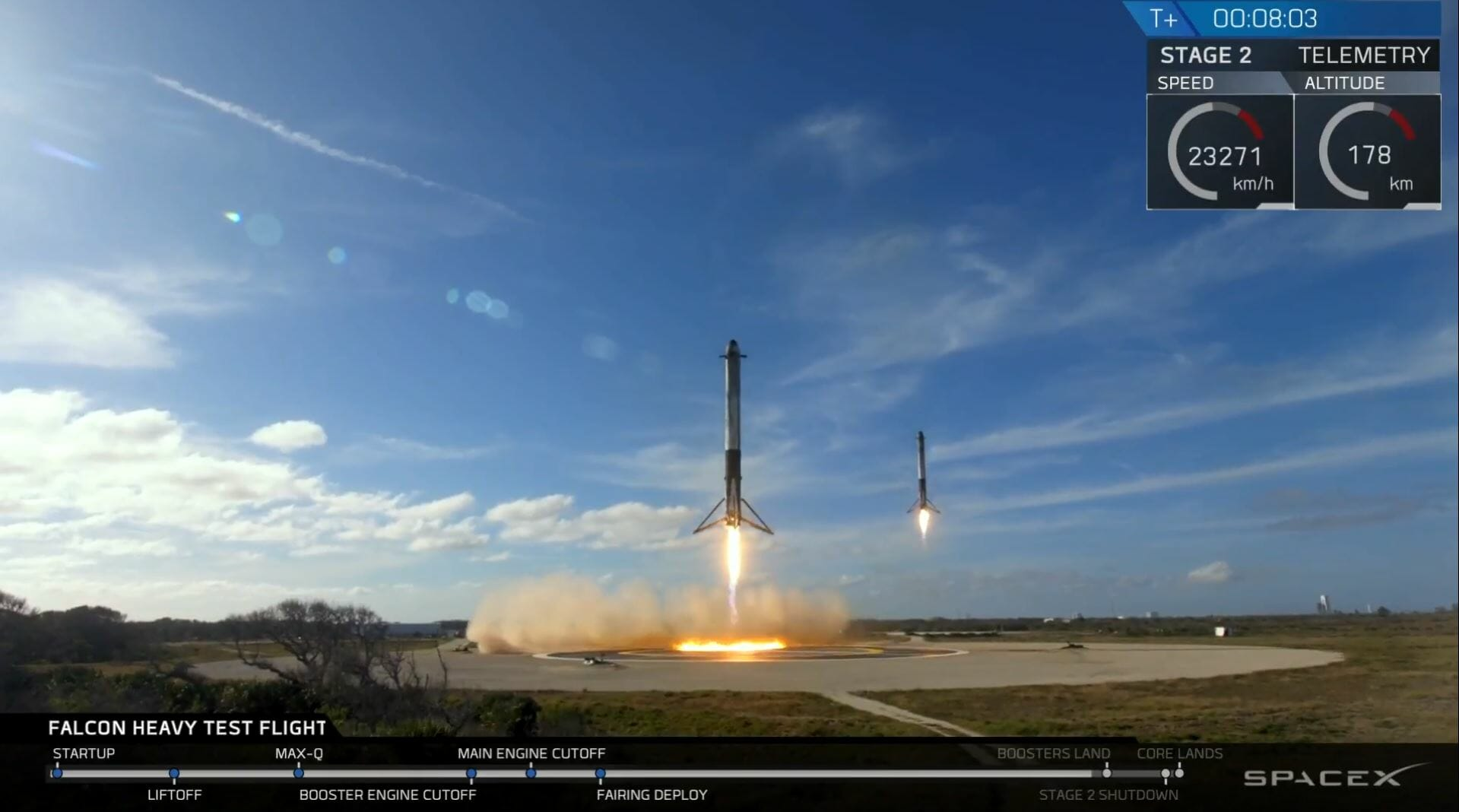 spacex falcon heavy launch side booster