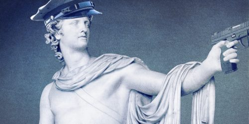 roman classical statue with police gear on
